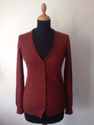 Rich & Royal Cardigan Strickjacke edel Luxus NP 119,95 long Deep V Alpaka Wolle rost cognac rotbraun