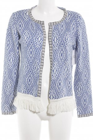 Rich & Royal Cardigan weiß-stahlblau abstraktes Muster Casual-Look