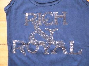 Rich & Royal Feinripp Tanktop mit Zierstein-Logo Blau mit Silber NEU Gr. M