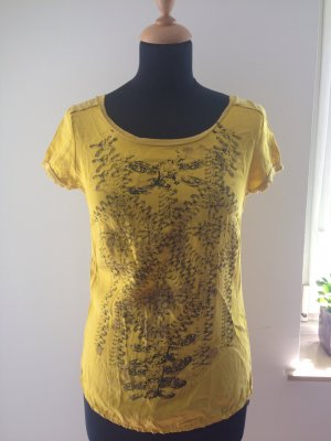 Rich&Royal gelb ocker senf sonnenblume muster schwarz Seide Hippie Boho Chic Design Luxus