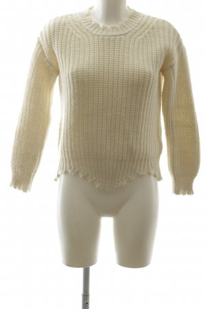 Rich & Royal Grobstrickpullover creme Zopfmuster Casual-Look