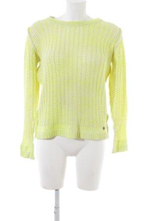 Rich & Royal Grobstrickpullover weiß-gelb Casual-Look