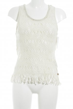 Rich & Royal Crochet Top cream loosely knitted pattern street-fashion look