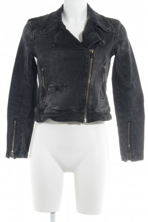 Rich & Royal Jeansjacke schwarz-anthrazit Steppmuster Biker-Look