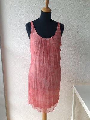 Rich & Royal Kleid lachs corall matt Crepe Falten bequem Seide sexy edel