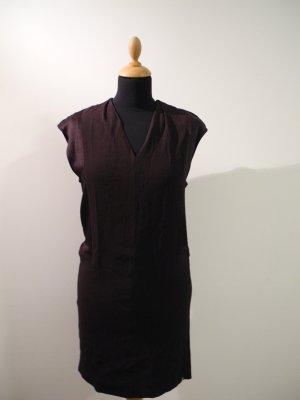 Rich & Royal Kleid Mini aubergine dunkellila schimmernd mattglänzend Struktur Materialmix ärmellos long top small