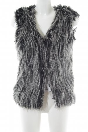Rich & Royal Vest van imitatiebont zwart-wit gestippeld extravagante stijl