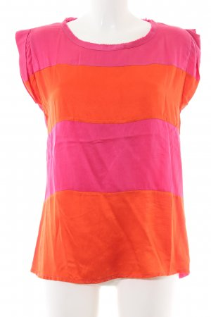 Rich & Royal Kurzarm-Bluse pink-hellorange Streifenmuster Casual-Look