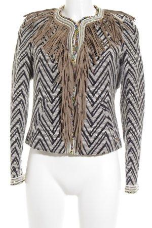 Rich & Royal Kurzjacke schwarz-wollweiß abstraktes Muster Boho-Look