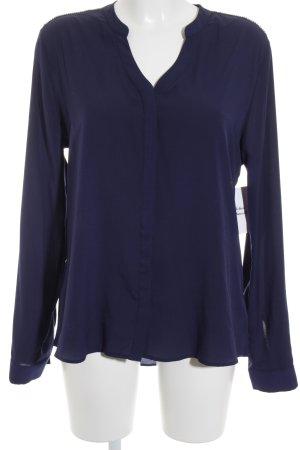Rich & Royal Langarm-Bluse blau-silberfarben Glitzer-Optik