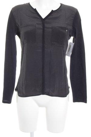 Rich & Royal Langarm-Bluse schwarz Glanz-Optik