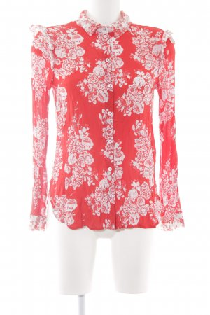 Rich & Royal Langarm-Bluse weiß-rot Blumenmuster Casual-Look