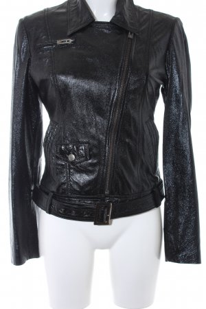 Rich & Royal Lederjacke schwarz Biker-Look