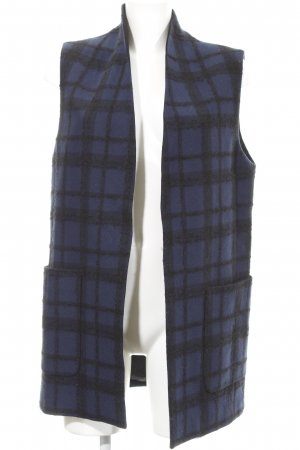 Rich & Royal Long Knitted Vest dark blue-black check pattern elegant