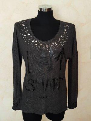 Rich & Royal Luxus Shirt Langarmshirt Nieten Schriftzug Anthrazit Metallisch M