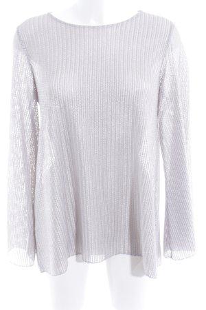 Rich & Royal Oversized Pullover silberfarben Zackenmuster Glanz-Optik