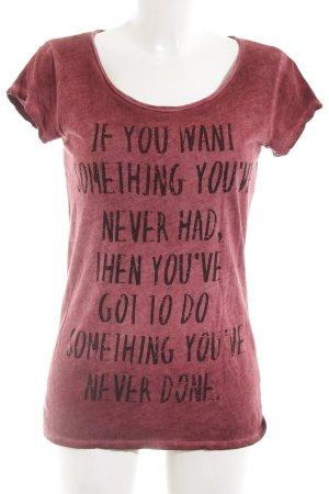 Rich & Royal Print-Shirt rot-schwarz Schriftzug gedruckt Casual-Look