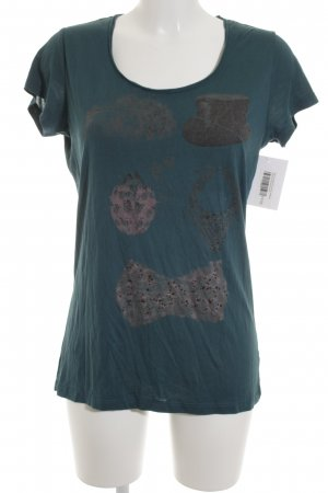 Rich & Royal Print-Shirt waldgrün Motivdruck Casual-Look