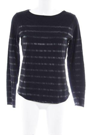 Rich & Royal Maglietta a righe nero-talpa motivo a righe stile casual