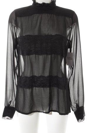 Rich & Royal Rüschen-Bluse schwarz klassischer Stil