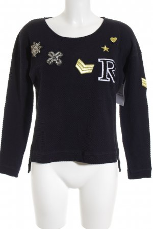 Rich & Royal Rundhalspullover dunkelblau Casual-Look