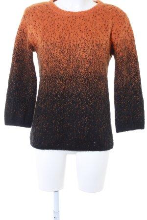 Rich & Royal Rundhalspullover schwarz-dunkelorange Farbtupfermuster Casual-Look