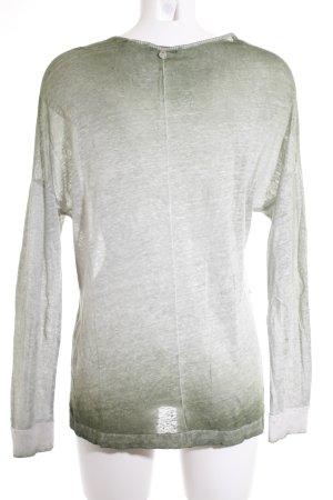 Rich & Royal Rundhalspullover weiß-waldgrün Farbverlauf Casual-Look