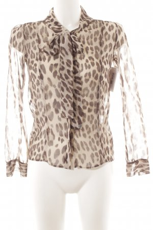 Rich & Royal Blusa collo a cravatta marrone-beige motivo animale