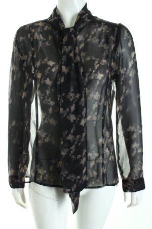 Rich & Royal Schluppen-Bluse schwarz-creme abstrakter Druck Romantik-Look