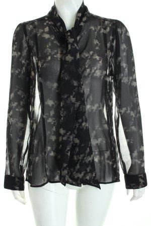 Rich & Royal Schluppen-Bluse schwarz-hellbeige abstraktes Muster Romantik-Look