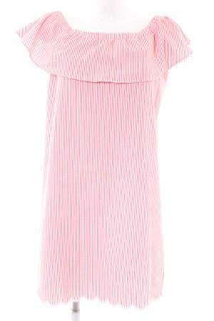 Rich & Royal Off the shoulder jurk roze-wit gestreept patroon casual uitstraling