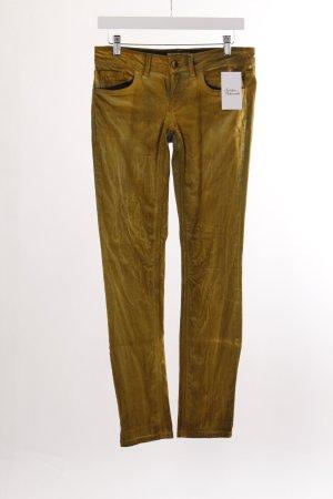 Rich & Royal Skinny Jeans goldfarben-schwarz extravaganter Stil