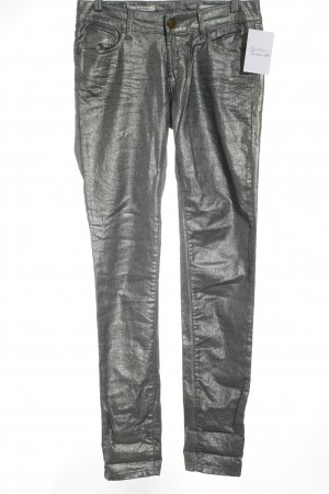 Rich & Royal Skinny Jeans silberfarben Metallic-Optik