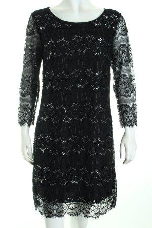 Rich & Royal Spitzenkleid schwarz-silberfarben florales Muster Elegant