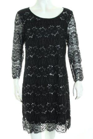 Rich & Royal Spitzenkleid schwarz-silberfarben florales Muster Eleganz-Look