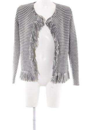 Rich & Royal Strick Cardigan dunkelgrau-weiß Punktemuster Casual-Look