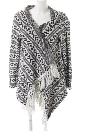 Rich & Royal Strick Cardigan weiß-schwarz Boho-Look