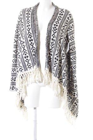 Rich & Royal Strickjacke schwarz-weiß abstraktes Muster Casual-Look