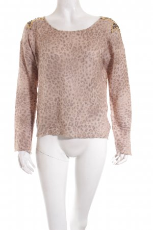 Rich & Royal Strickpullover beige-graubraun Animalmuster Animal-Look