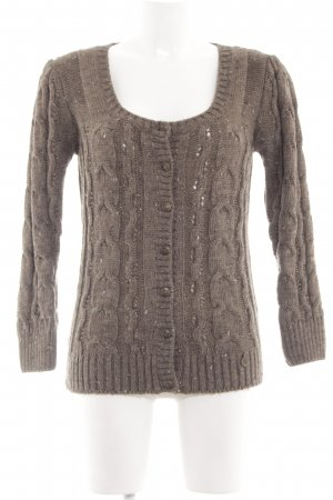 Rich & Royal Strickpullover braun Zopfmuster Casual-Look
