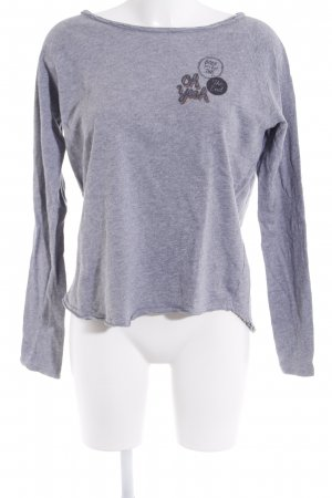 Rich & Royal Strickpullover grau platzierter Druck Casual-Look