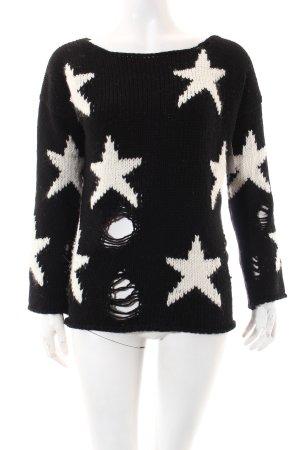 Rich & Royal Strickpullover weiß-schwarz Casual-Look