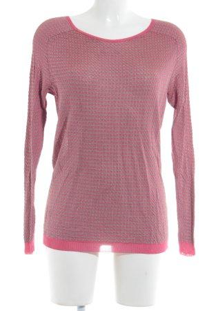 Rich & Royal Camisa tejida beige-rosa estampado a cuadros look casual