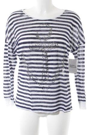 Rich & Royal Camisa tejida azul oscuro-blanco estampado a rayas look casual