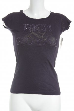 Rich & Royal T-Shirt dunkelviolett Monogram-Muster Casual-Look