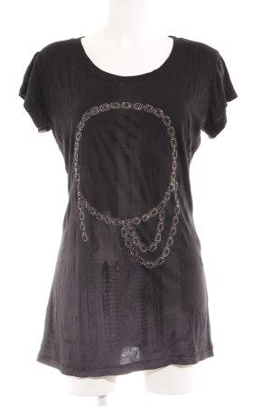 Rich & Royal T-Shirt schwarz platzierter Druck Casual-Look