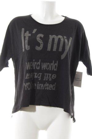 Rich & Royal T-Shirt schwarz Schriftzug gedruckt