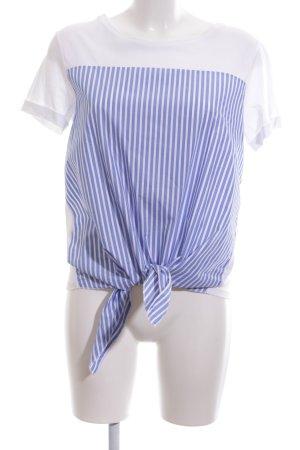 Rich & Royal T-Shirt stahlblau-weiß Streifenmuster Casual-Look