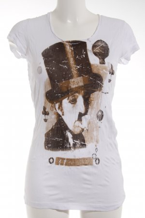 Rich & Royal T-shirt wit-brons geplaatste afdruk casual uitstraling