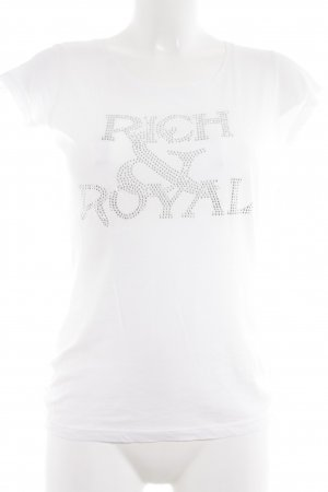 Rich & Royal T-Shirt weiß Motivdruck 90ies-Stil